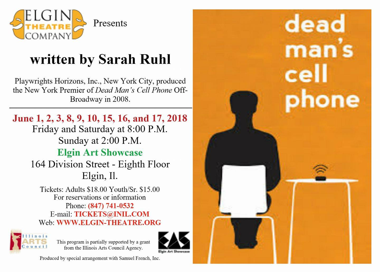 Dead Man's Cell Phone at the Elgin Art Showcase, June 1-17, 2018