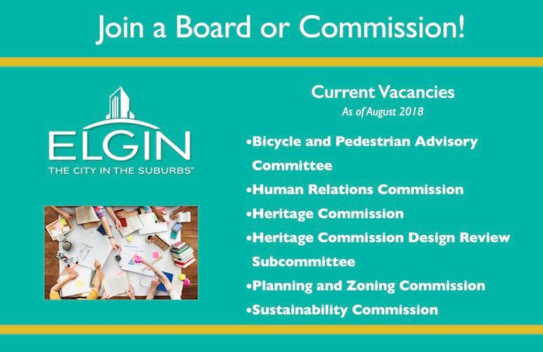 Boards and Commissions Vacancies for August 2018
