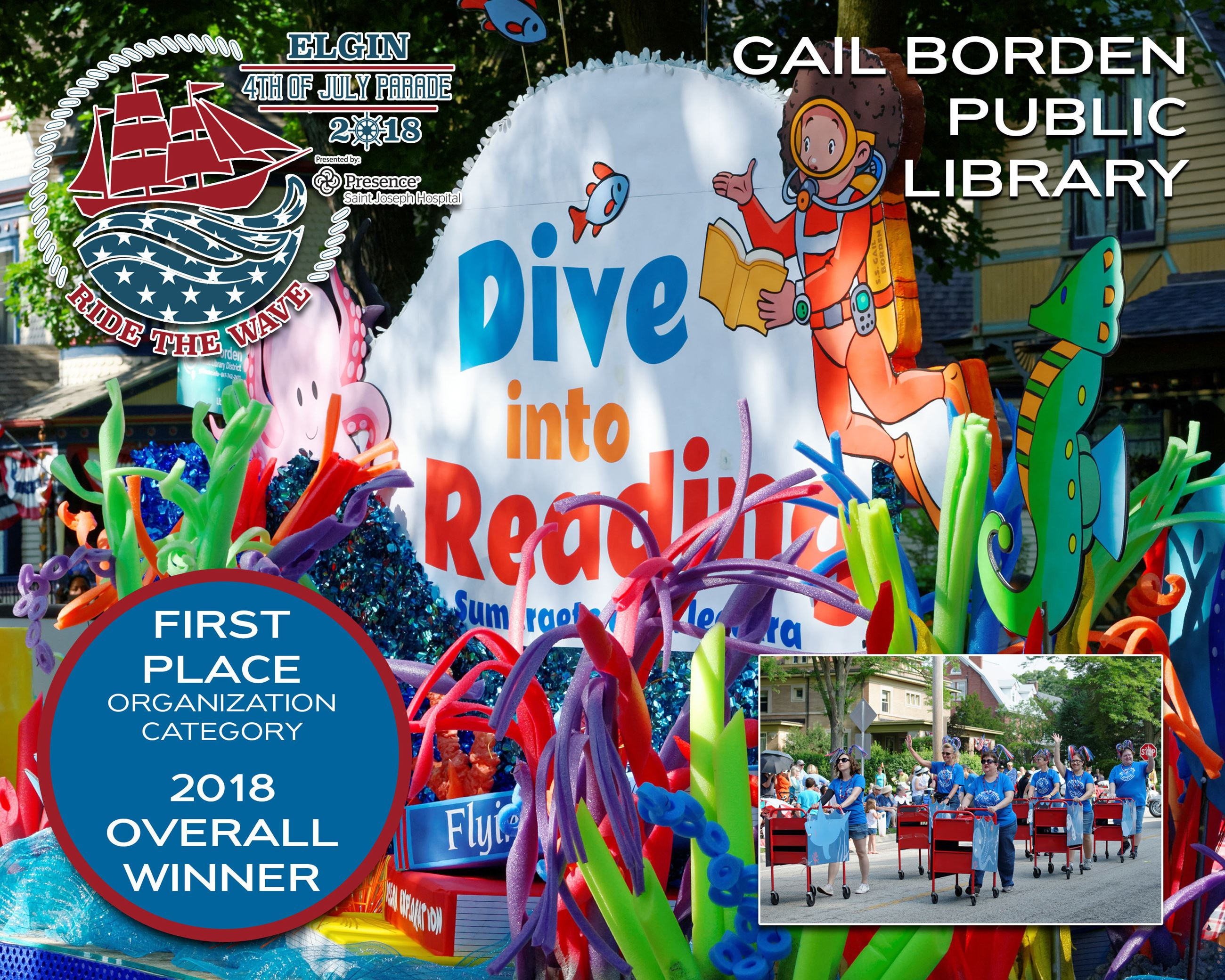 Gail Borden Public Library first place overall parade winner