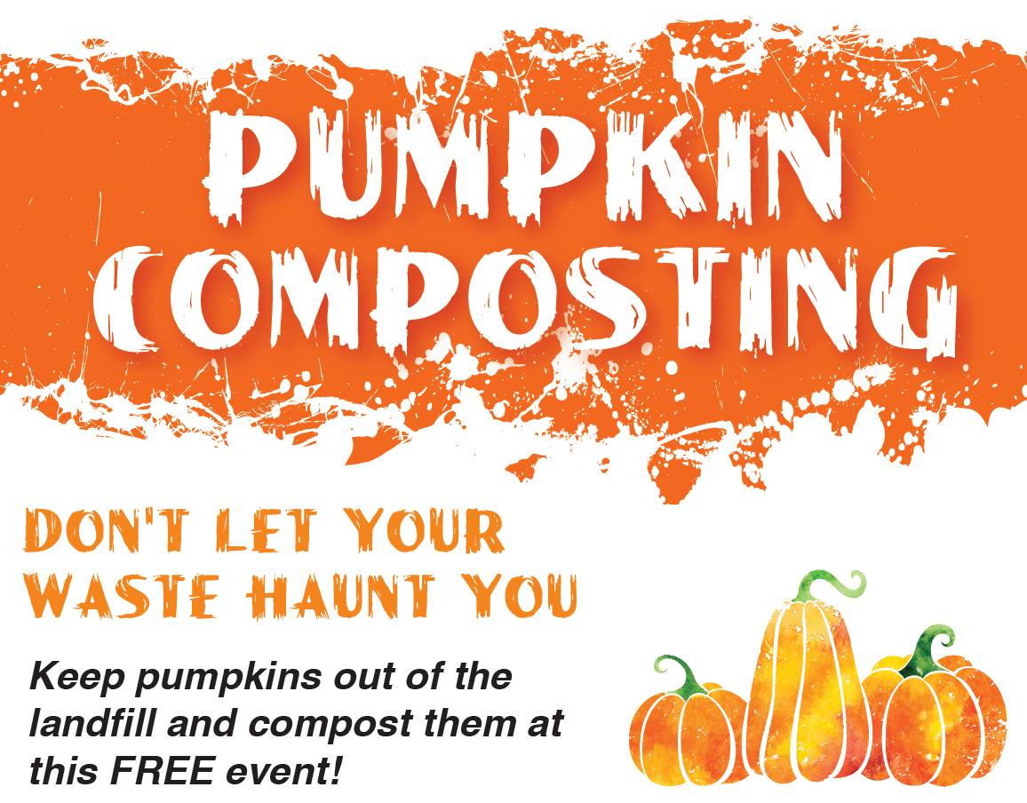 Free pumpkin composting on Saturday, November 3 from 9 am - 12 pm oat the corner of Grove & Kimball