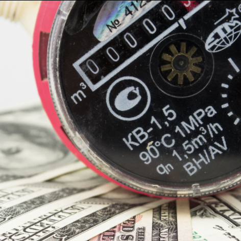 Picture of water meter and currency for water bill payment reference