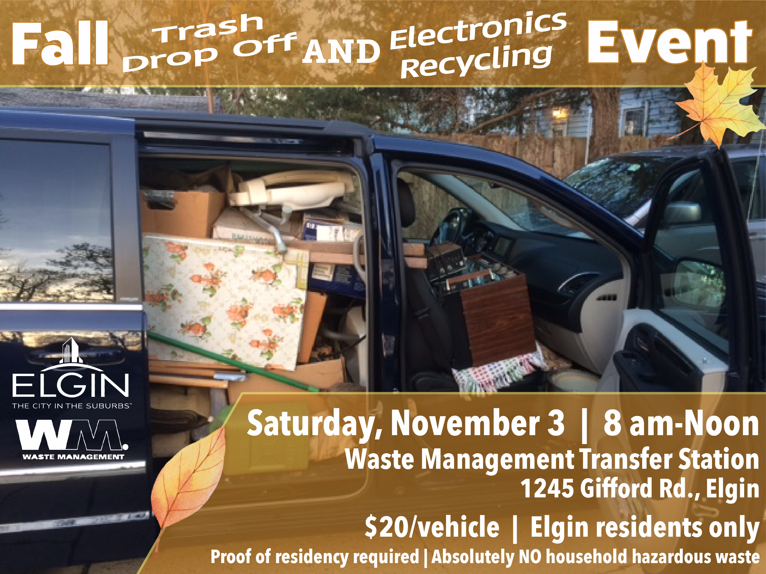 picture of van packed with household waste and electronics for drop off event