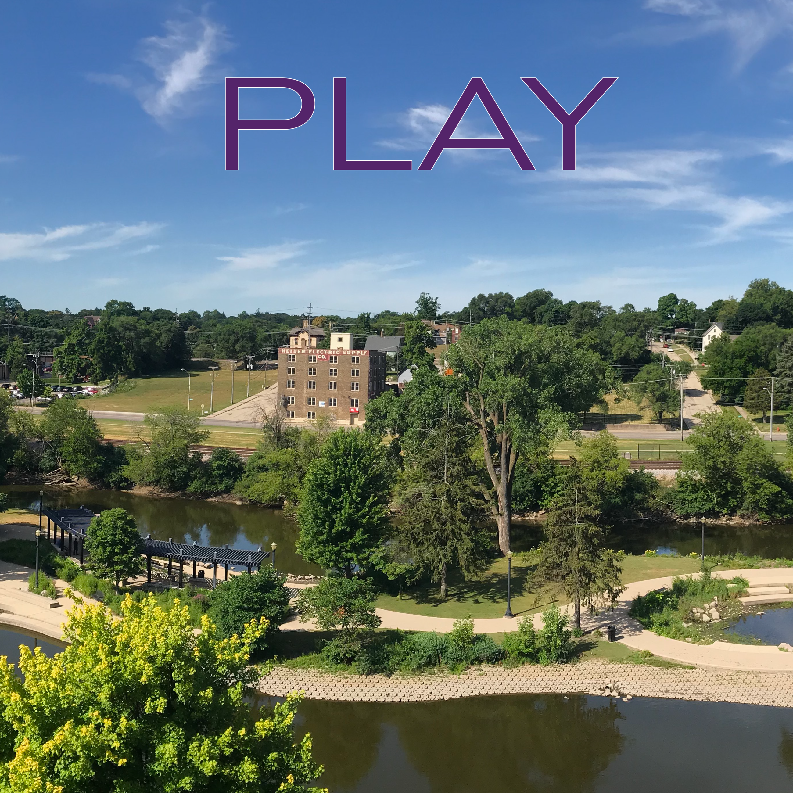 """Play"" over Elgin downtown panoramic photo"