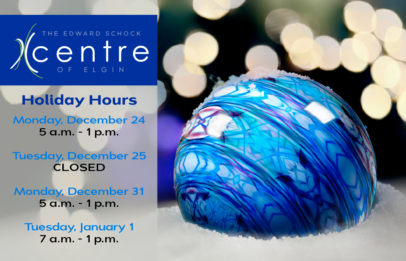 Centre Holiday Hours Image