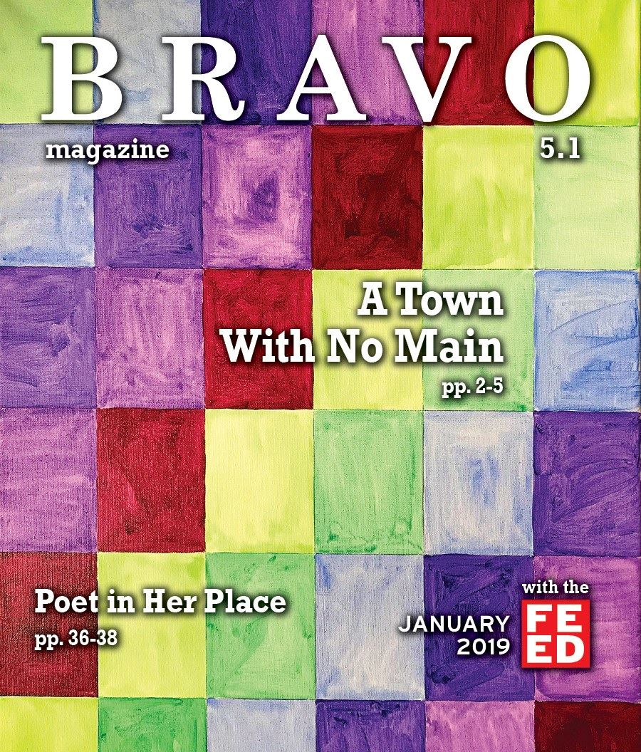 BRAVO Magazine January 2019 cover- multicolored squares