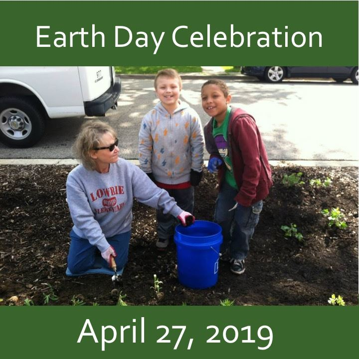 Earth Day Celebration icon- family planting a tree
