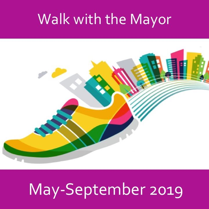 Walk with the Mayor icon-2019. Show and building drawing