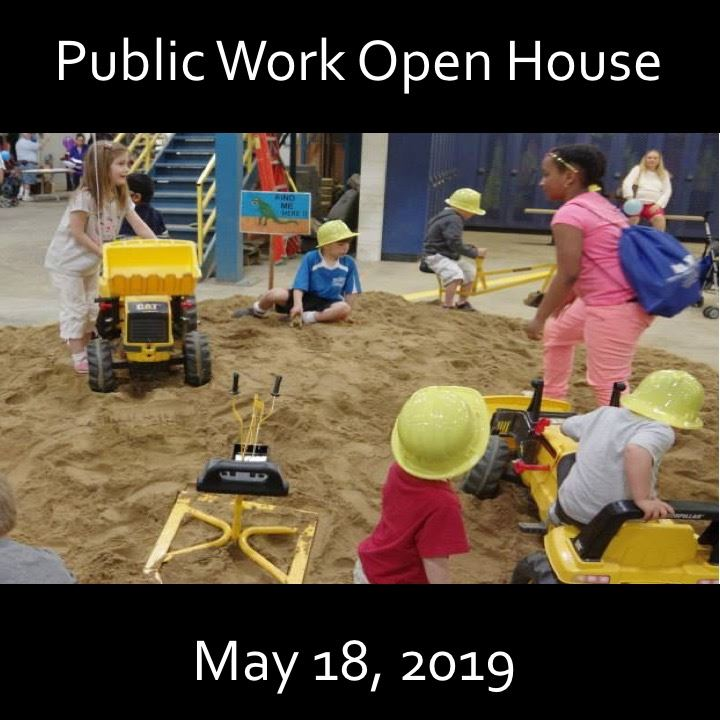 Public Works Open House icon-2019. Kids playing in sand