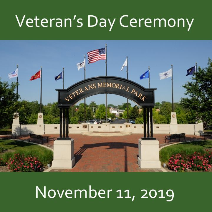 Veteran's Day ceremony icon-2019. veteran's memorial park view