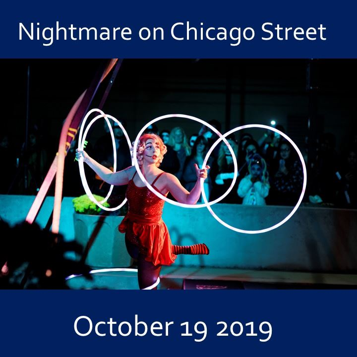 Nightmare on Chicago Street 2019. circus player with rings.