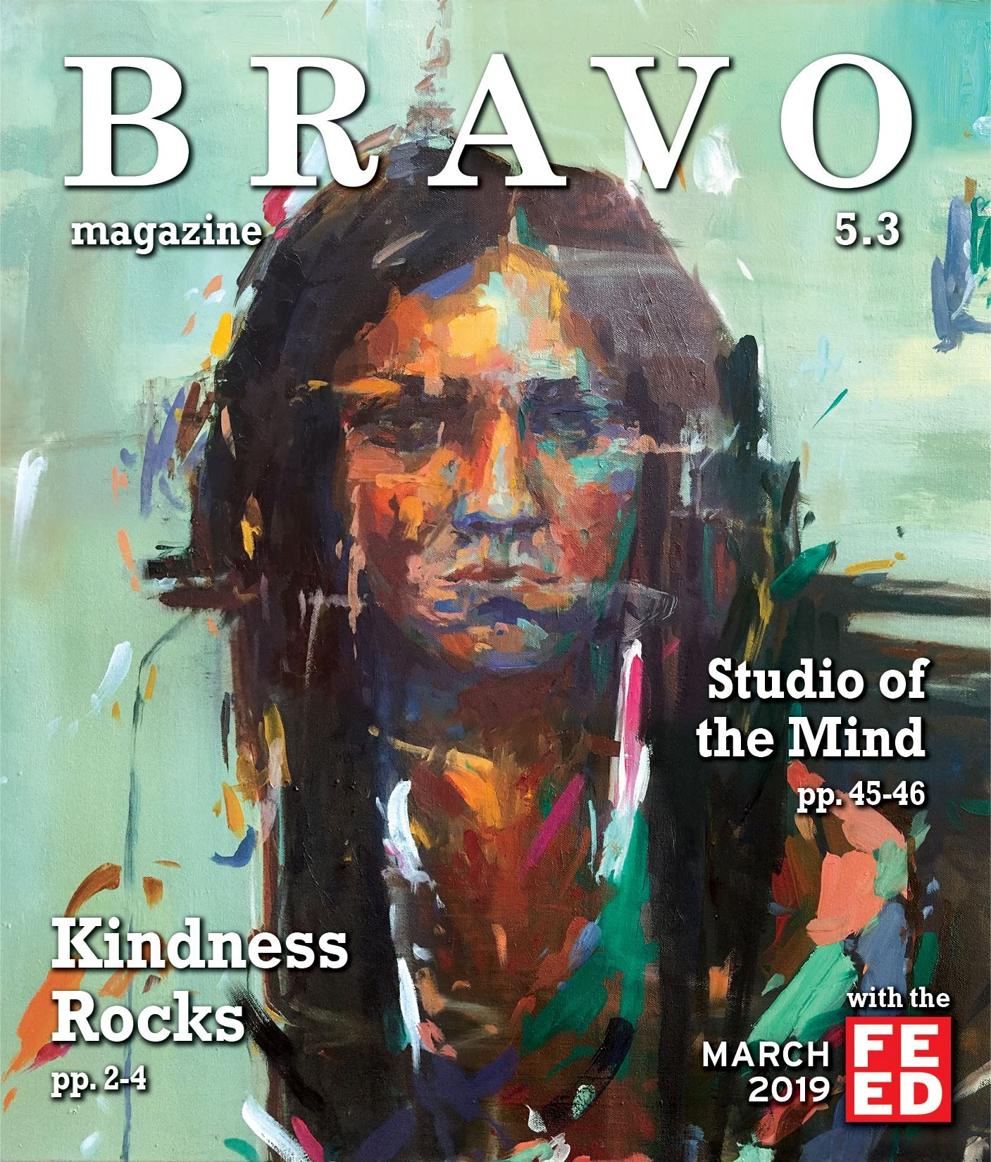 Bravo March 2019 Cover- painting of a girl&#39s face with green background