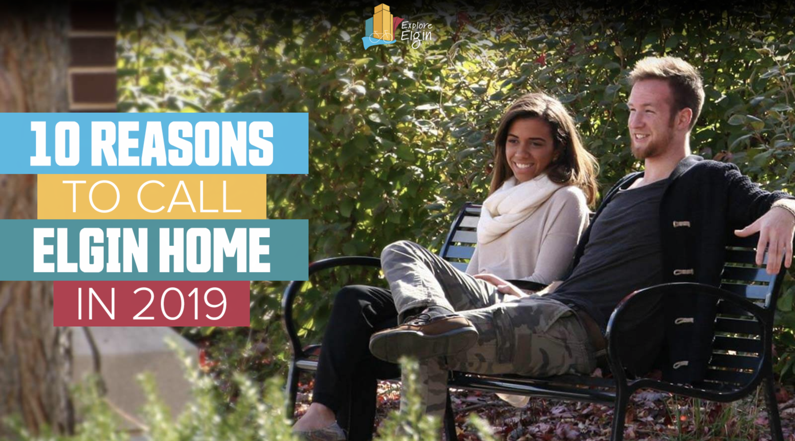 Couple on a bench in a park - 10 reasons to call Elgin home