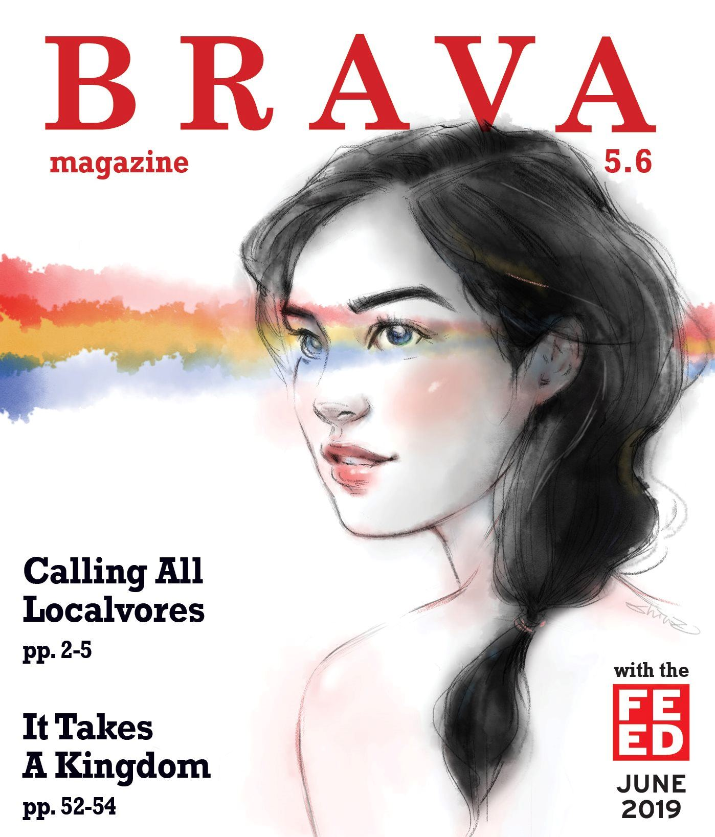 Bravo June 2019 Cover- ink drawing of a woman with a rainbow