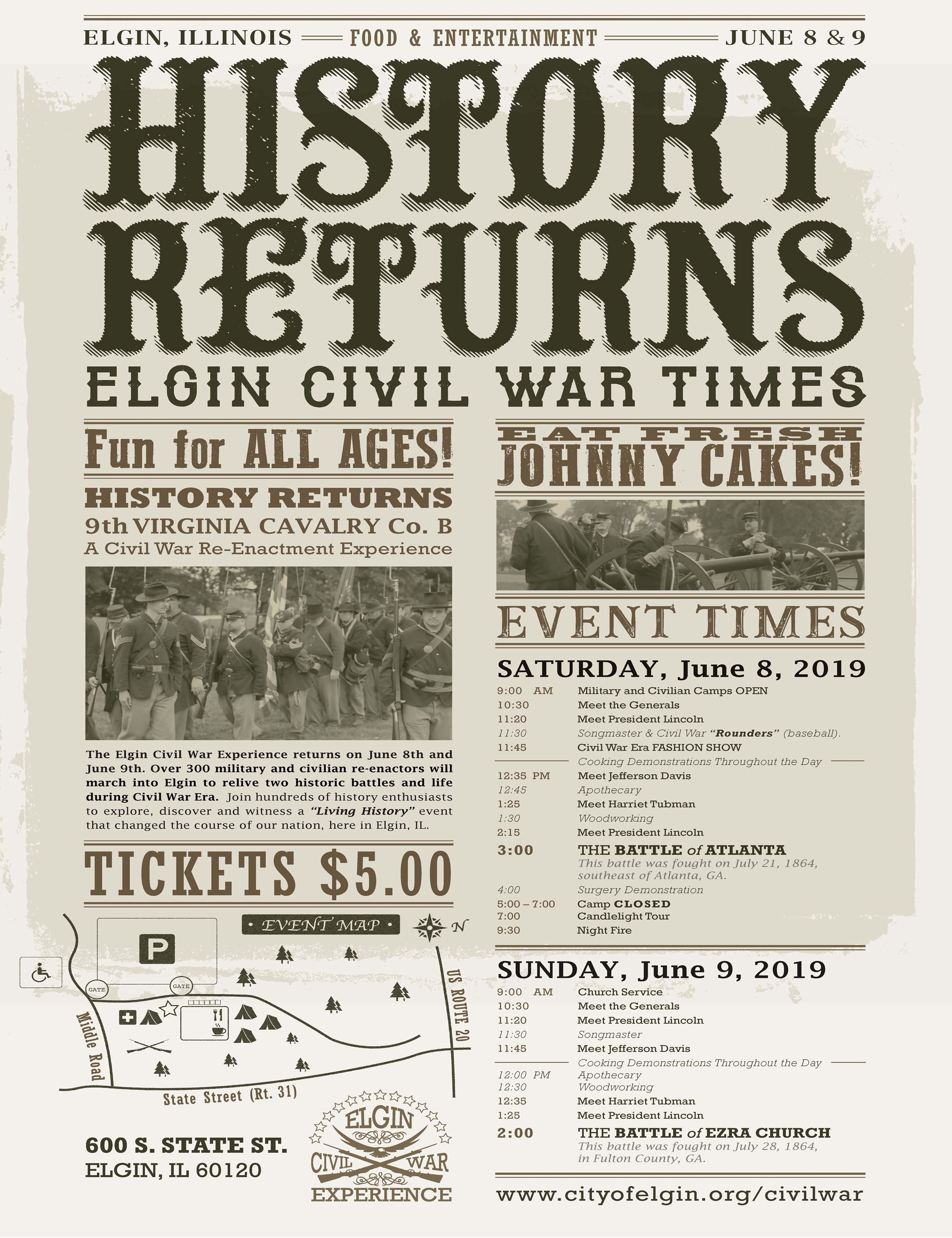 Elgin Civil War Experience History Returns Poster with map and schedule