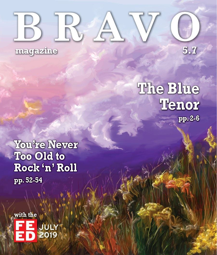 Bravo July 2019 Cover. Blue and purple sky