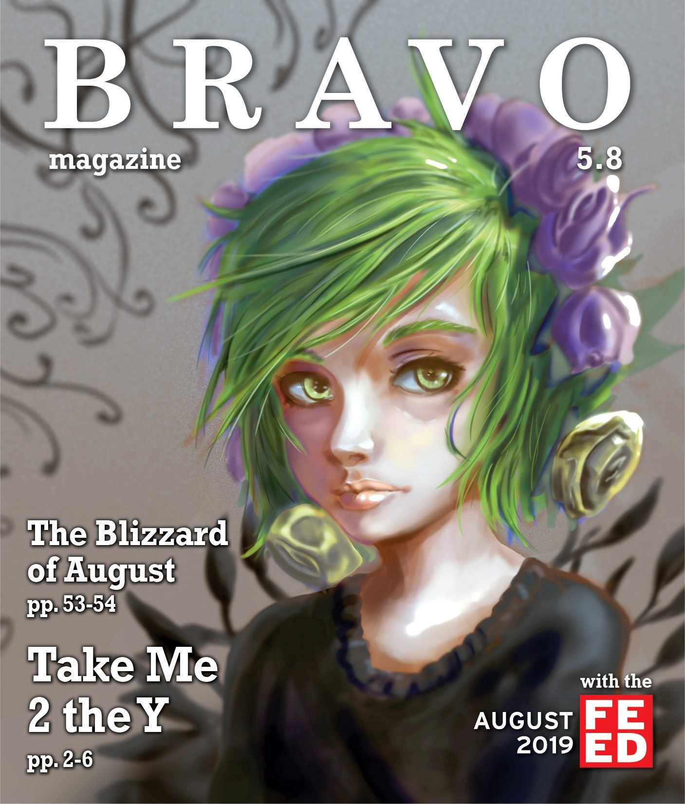 August 2019 Cover. Drawing of a girl with green hair