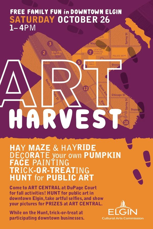 Art Harvest postcard 2019, Front. Orange and purple.