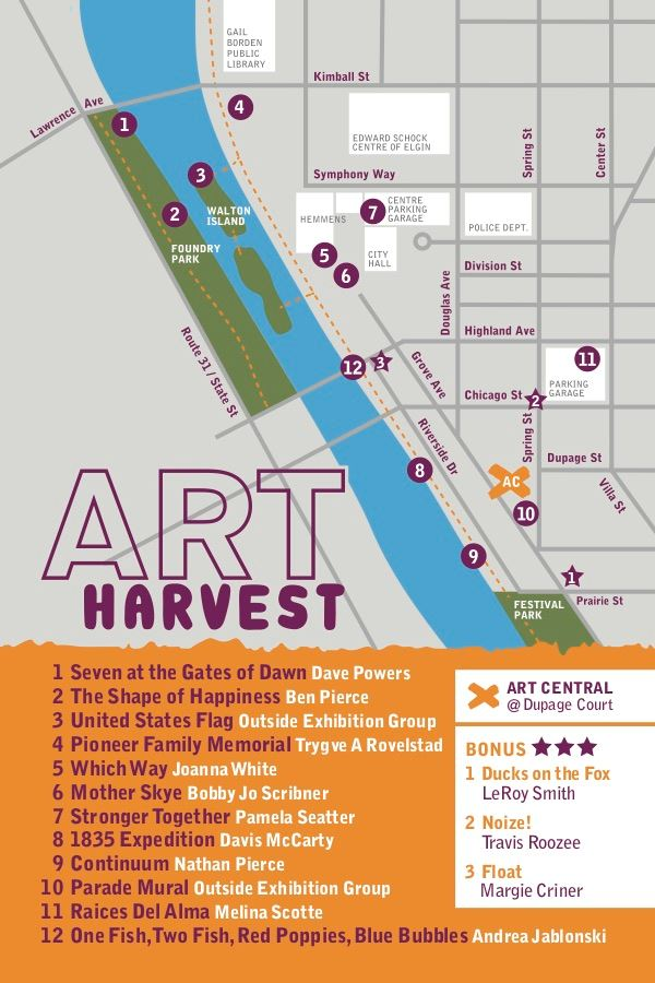 Art Harvest postcard 2019, back. Orange and purple with map.