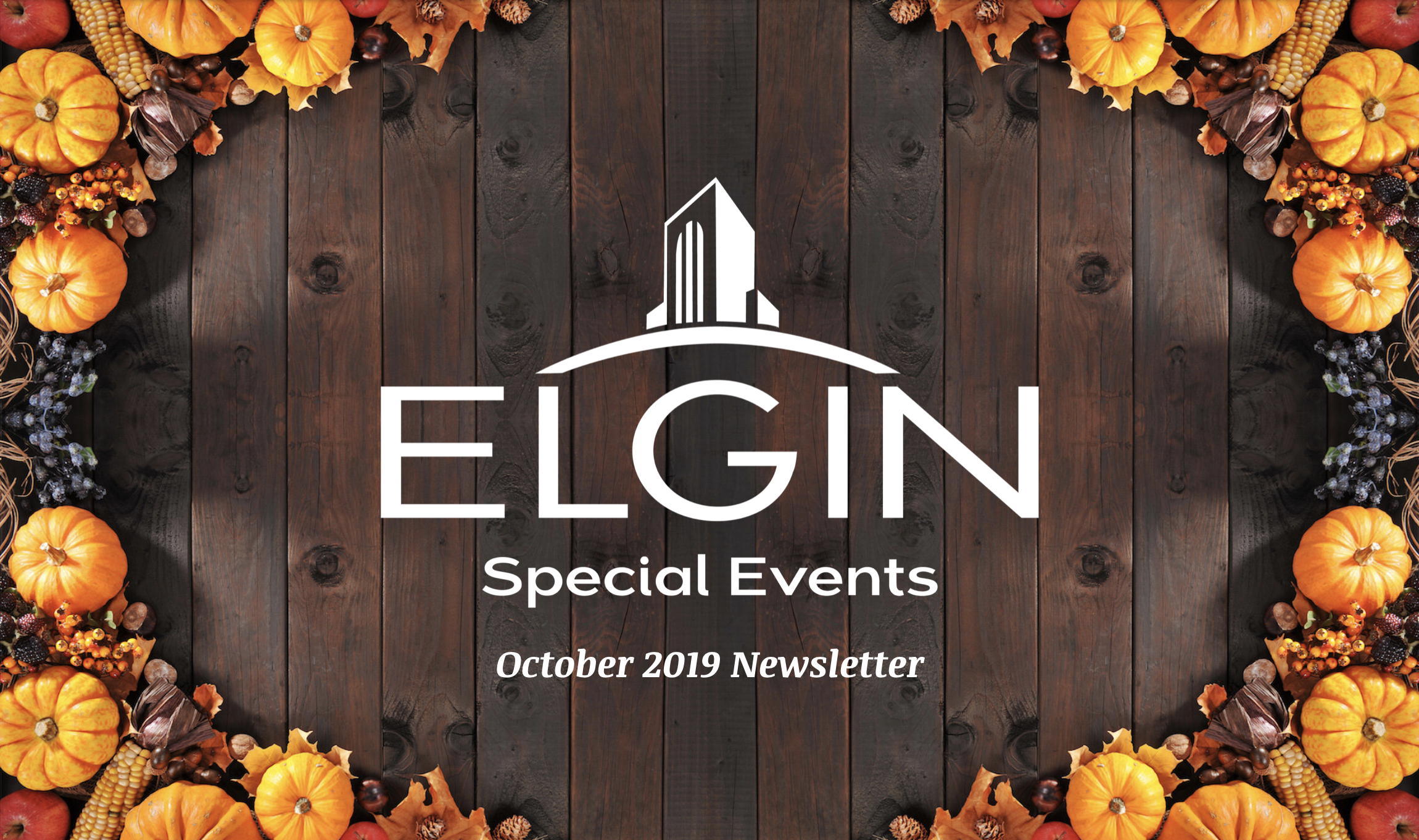 October 2019 Special Events Newsletter cover. brown with leaves and gourds