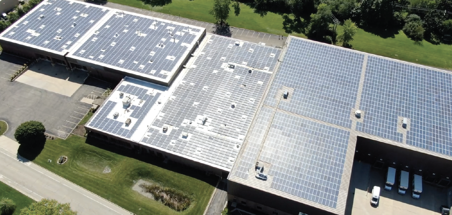 aerial photo of 3700 solar panel installation on Davis Rd