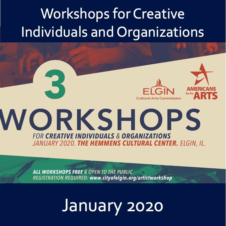 Artist Workshop 2020 icon, digital descriptive image in green, blue, and red.