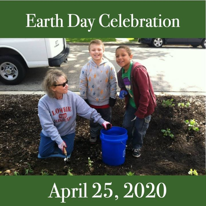Earth Day Celebration 2020 icon. People planting.