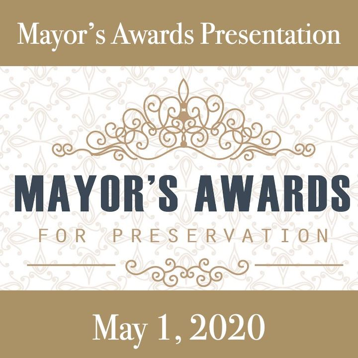 Mayors Award icon-2020. brown background with blue and white text