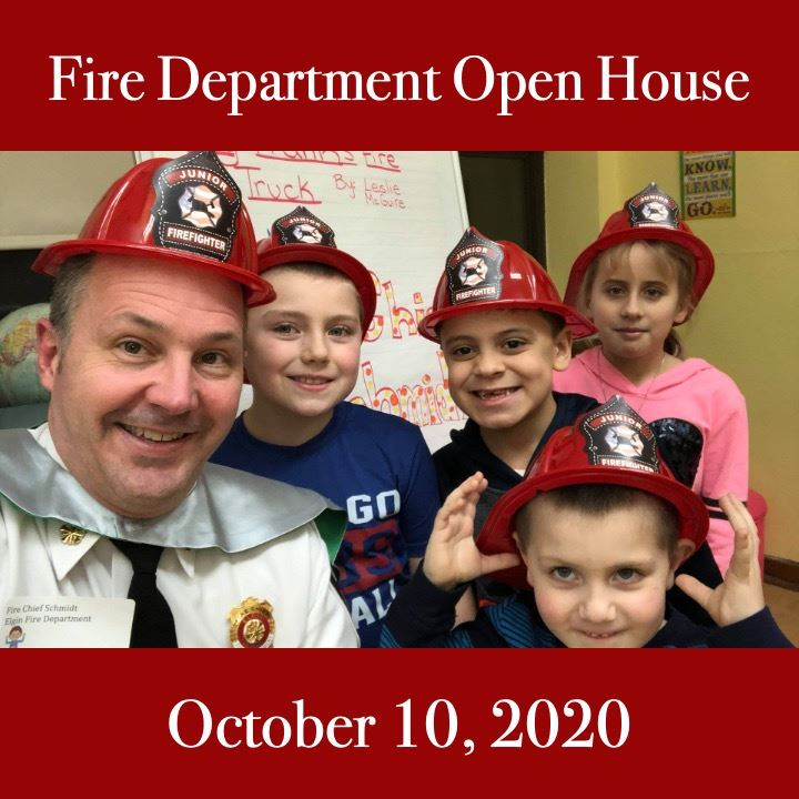 FD open house icon. kids wearing fire helmets