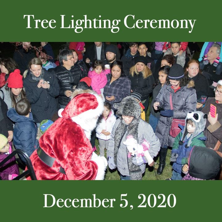 Tree Lighing Ceremony 2020. crowd scene with Santa.
