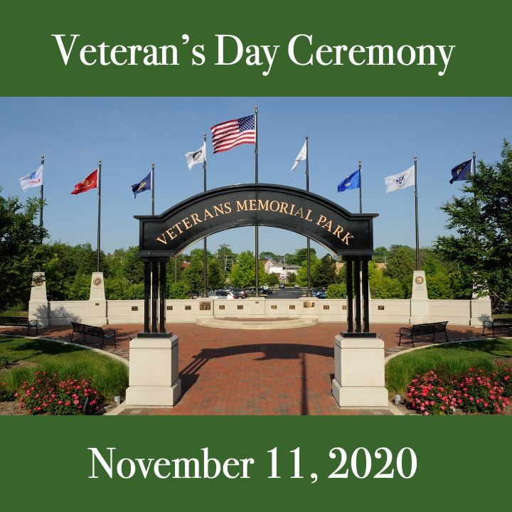 Veterans Day Ceremony. image of the flags and veteran's park.
