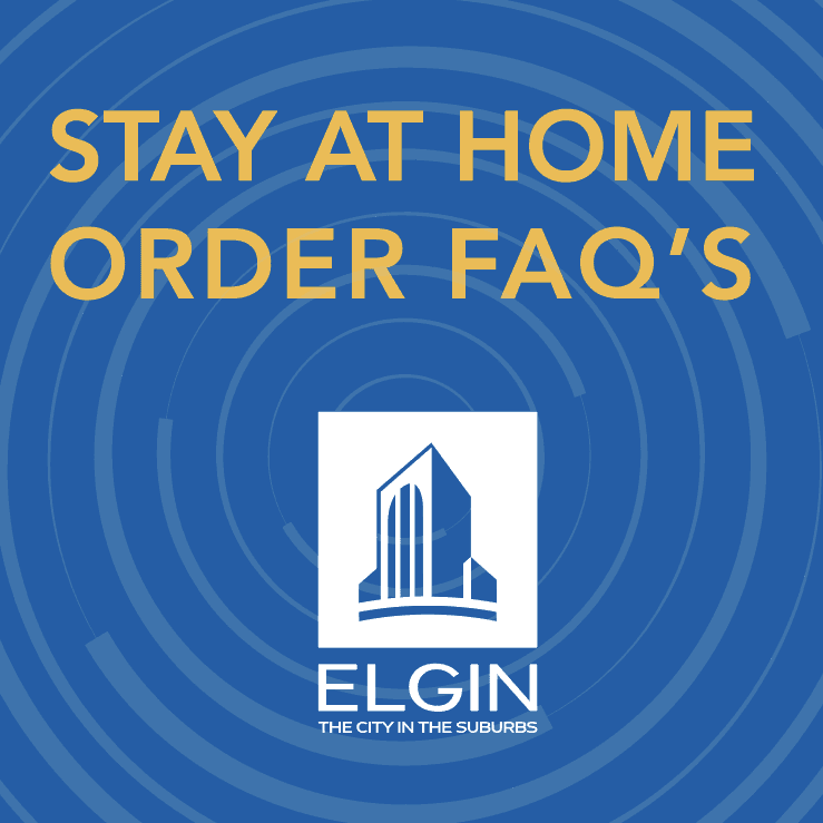 Blue Image that says stay at home faq's
