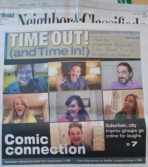 Newspaper image of the Timeout Section showing a zoomed live-ish Virtual Improv