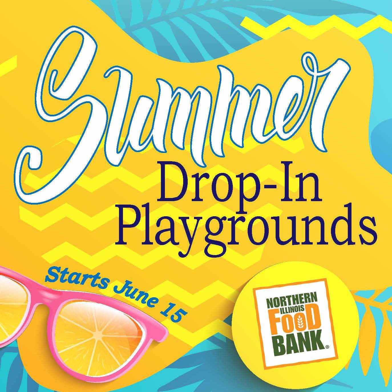 Summer colored image that says Drop In Playgrounds