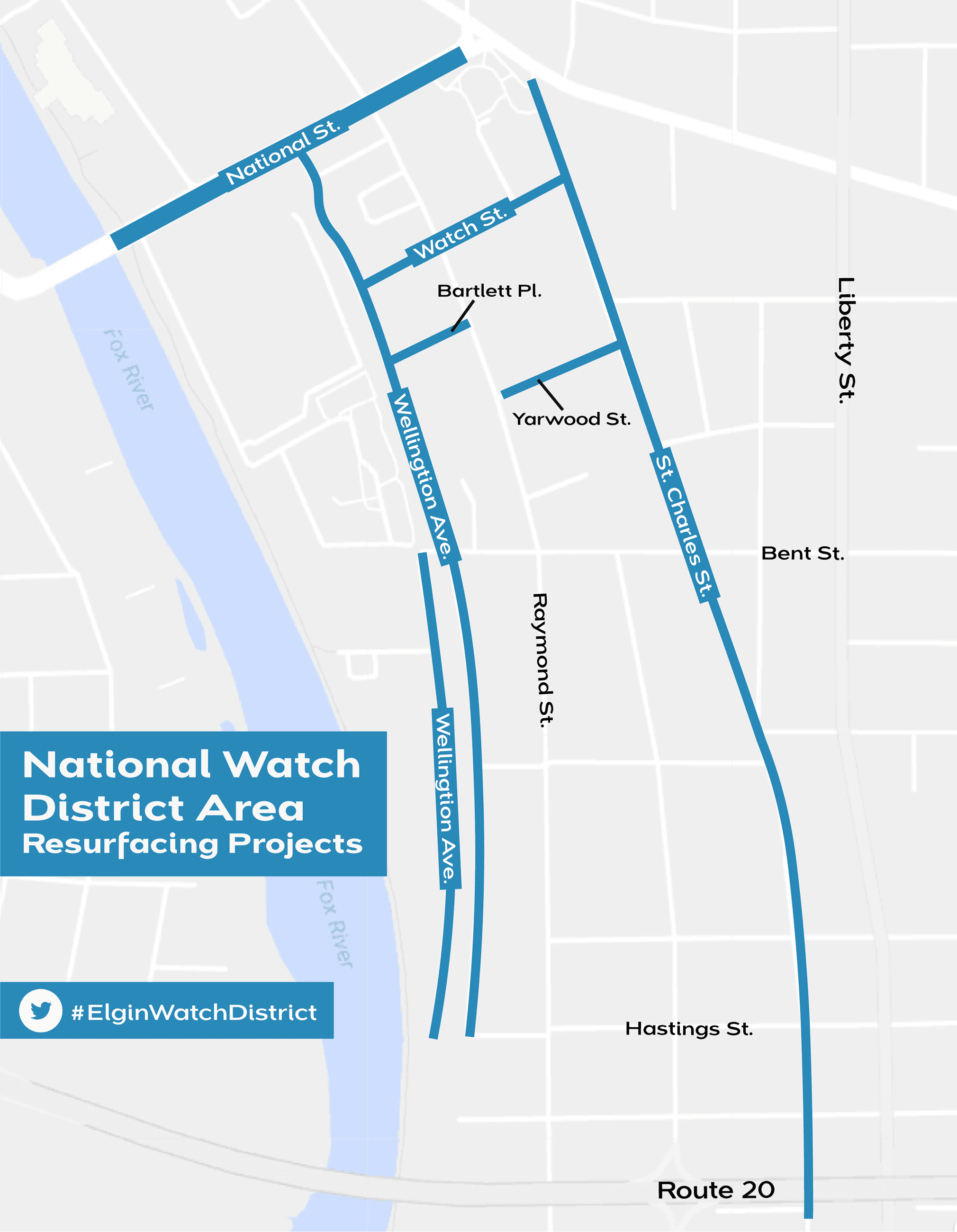 Map of the collector streets to be resurfaced in the Elgin National Watch District Area