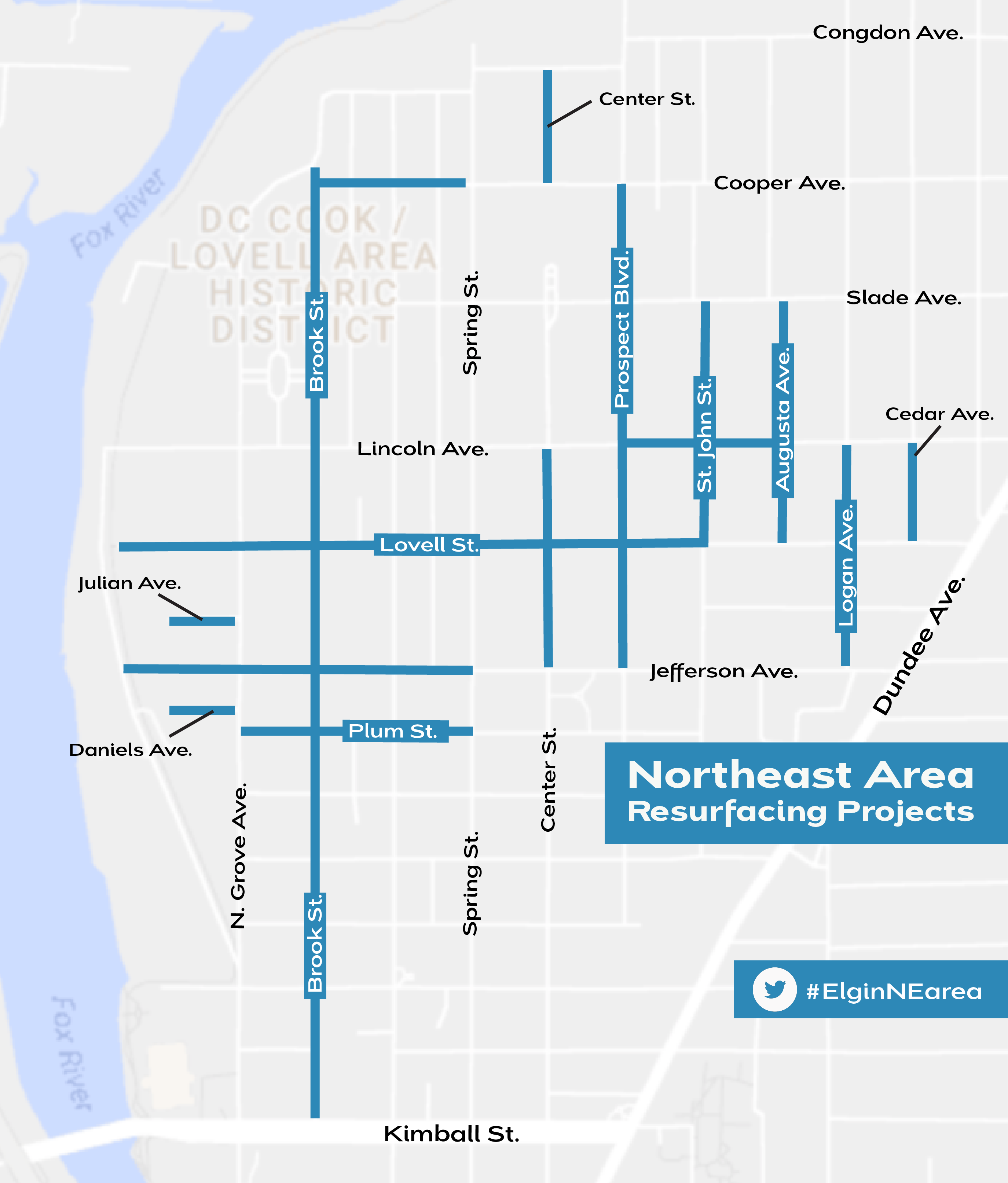 Map of the streets to be resurfaced in the Northeast Neighborhood area
