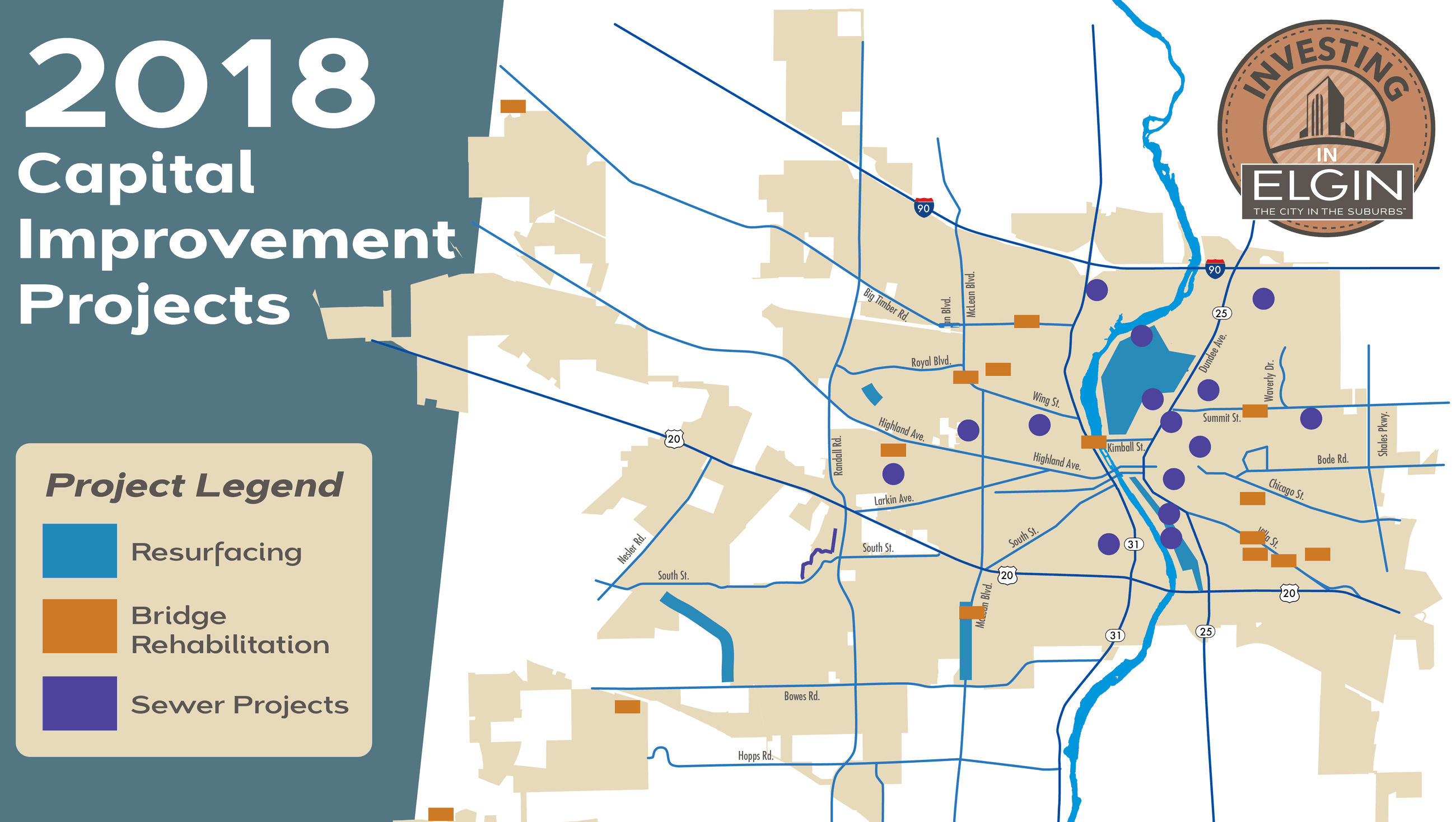 Citywide Map of all 2018 capital project locations