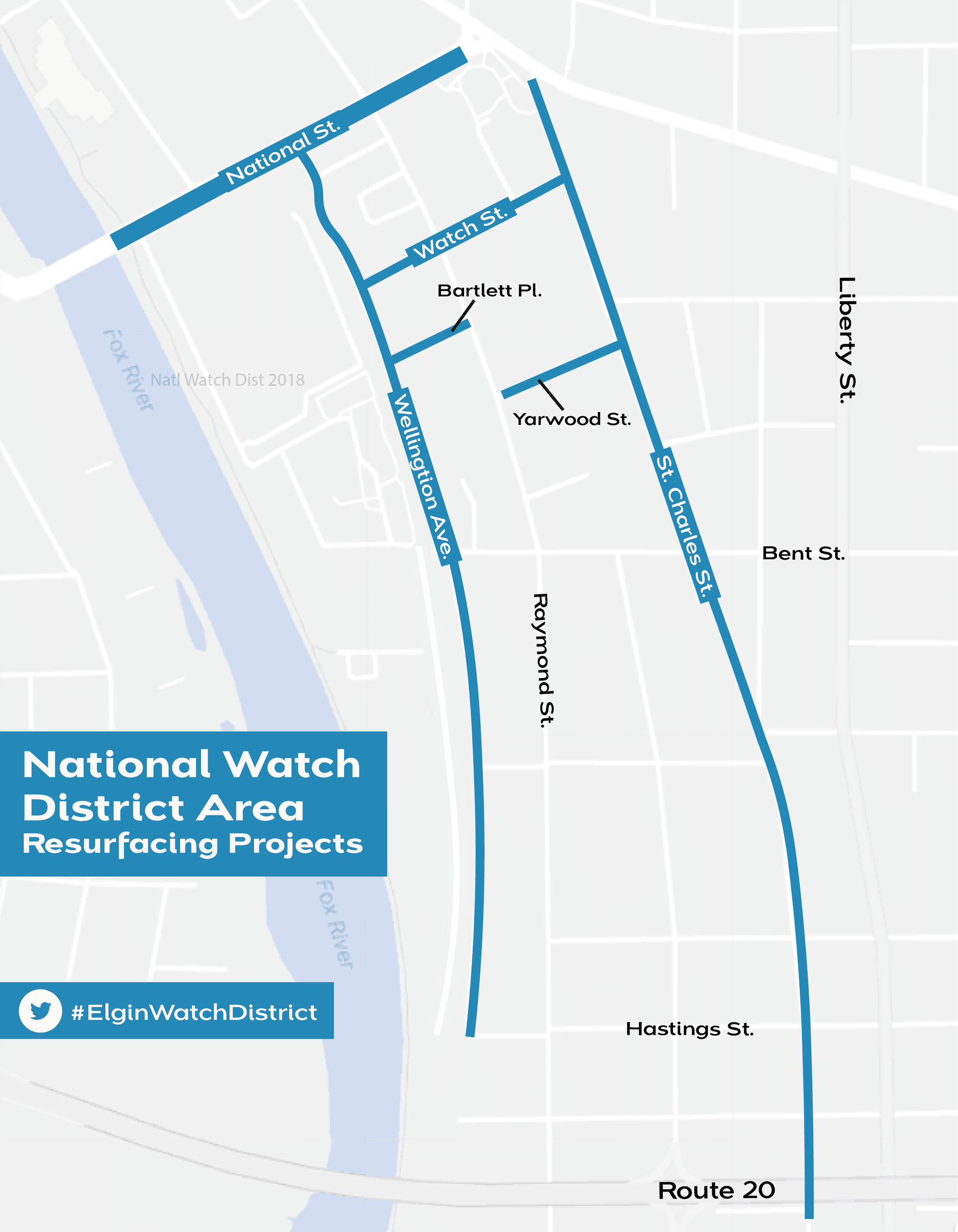 Elgin National Watch District resurfacing project map