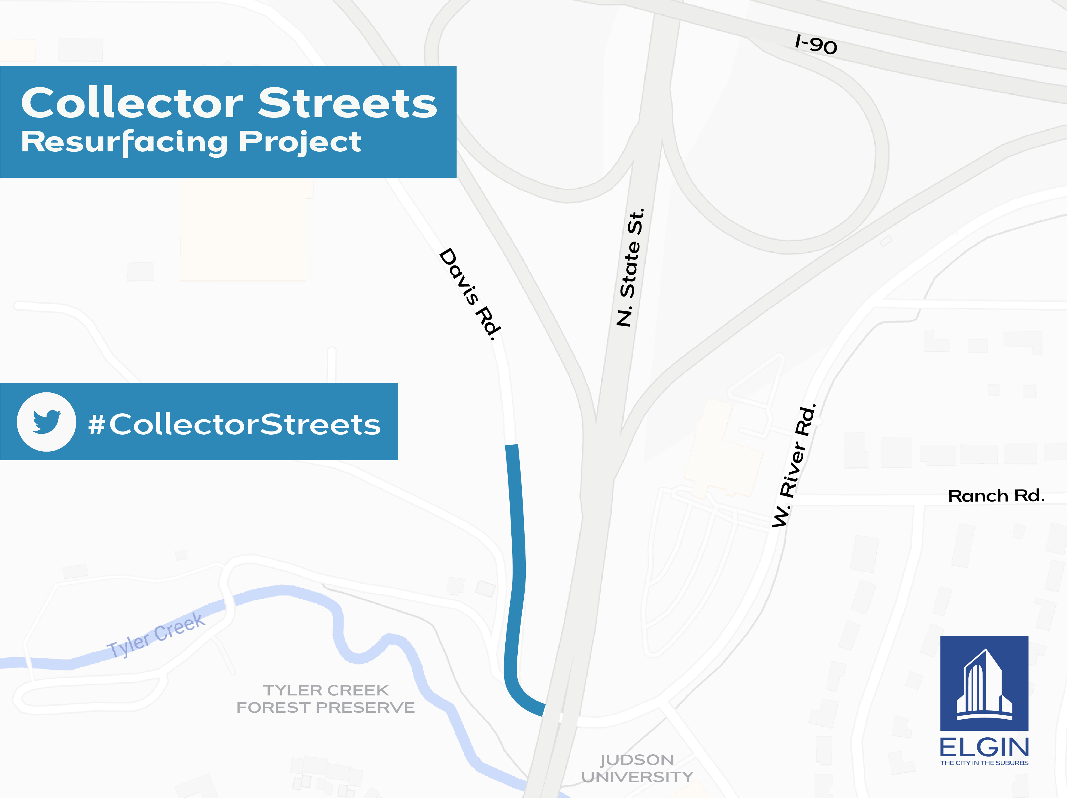 Collector Street Resurfacing Map for Davis Rd
