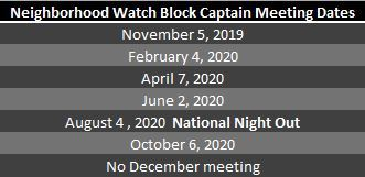Neighborhood Watch Meeting Dates