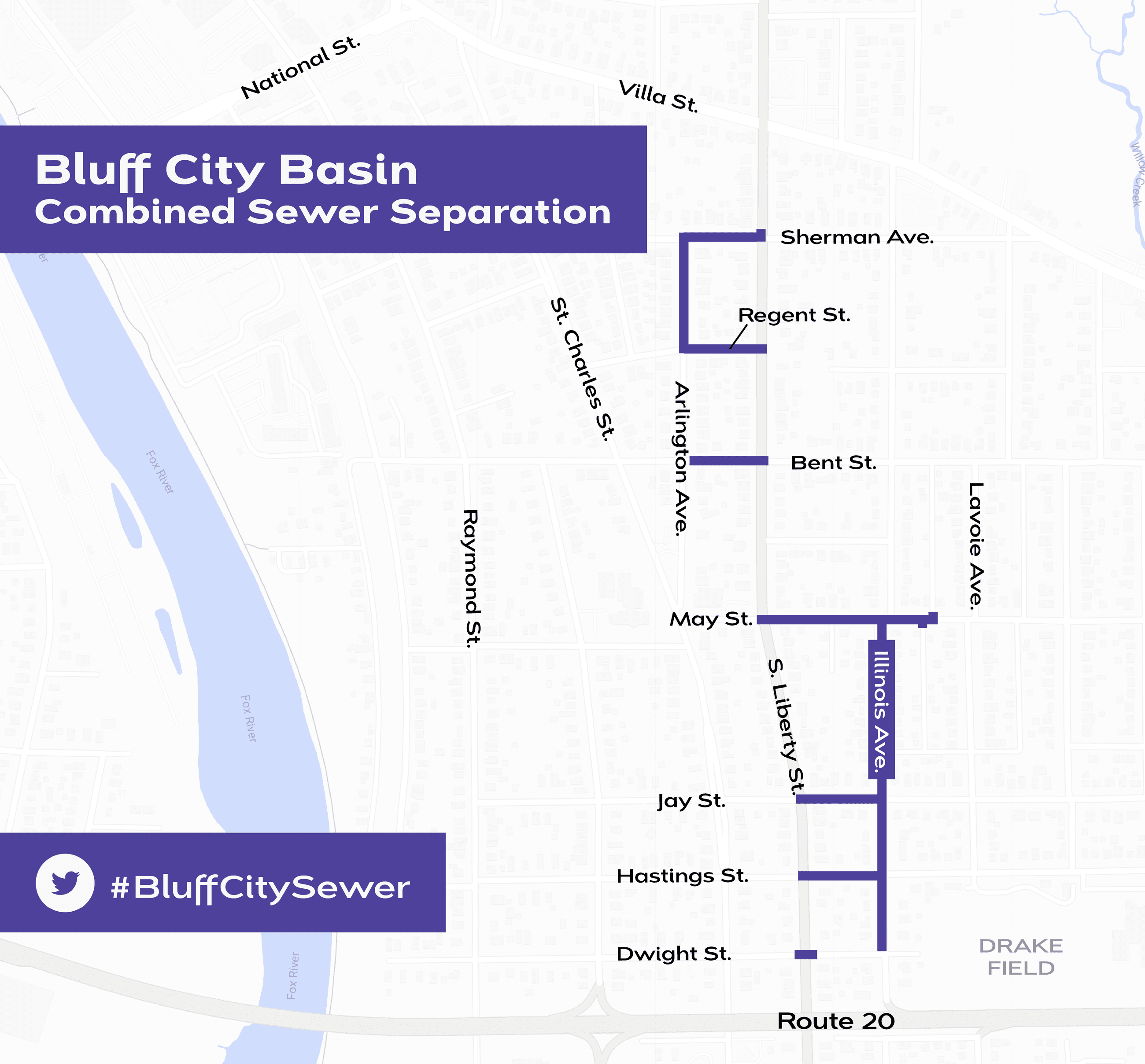 Bluff City Sewer Separation 2020 construction area map