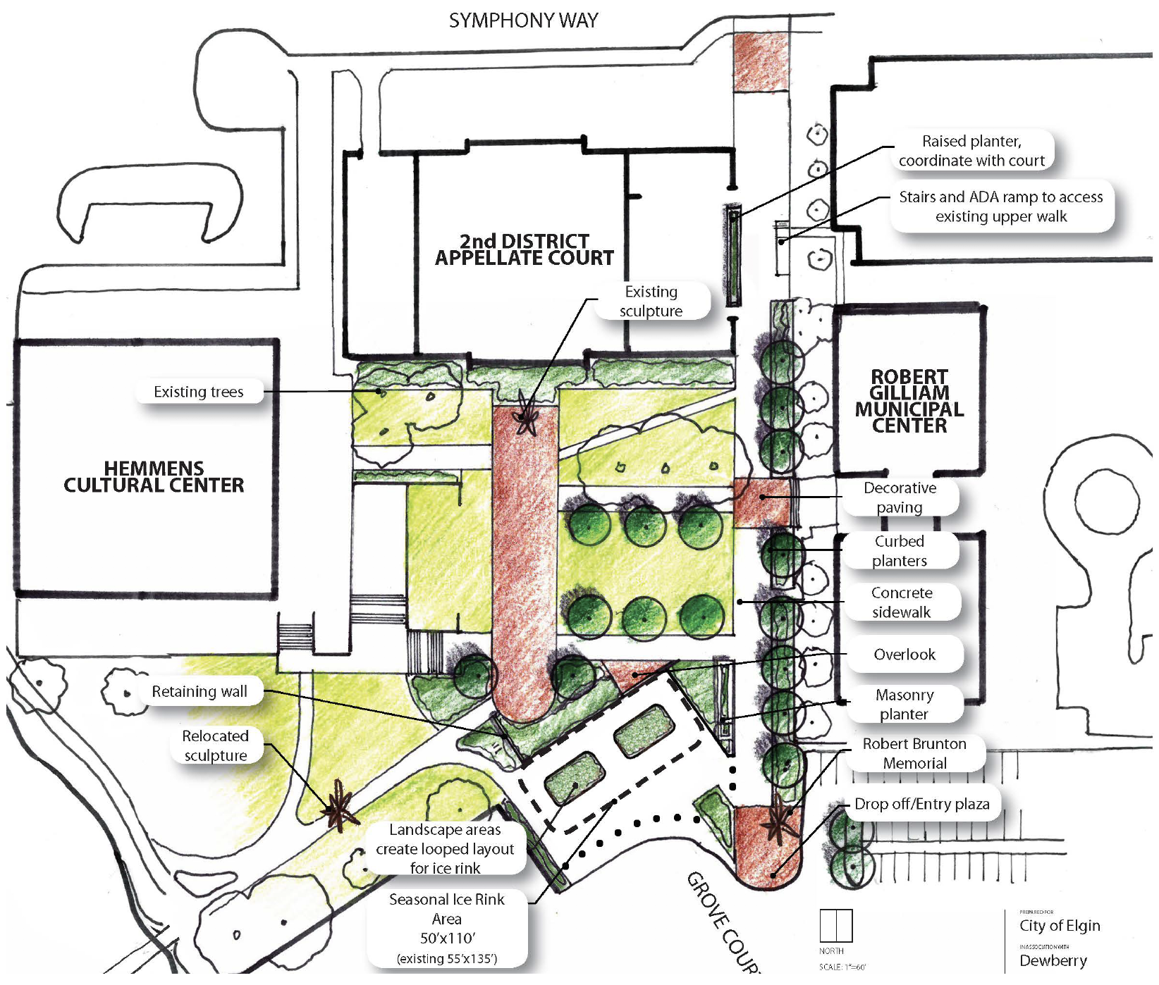 civic center plaza concept for reconstruction